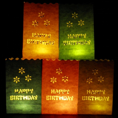 colour birthday luminary candle bags