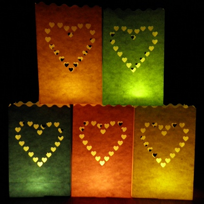 colour heart luminary candle bags
