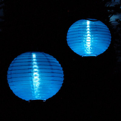 blue solar Chinese lanterns