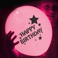 pink happy birthday LED balloons