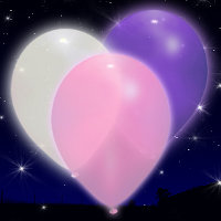 pink, purple and white LED balloons