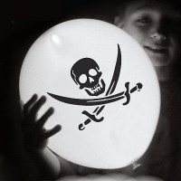 pirate LED balloons, skull and crossed swords