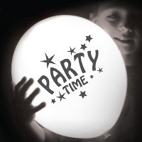 white party time LED balloons
